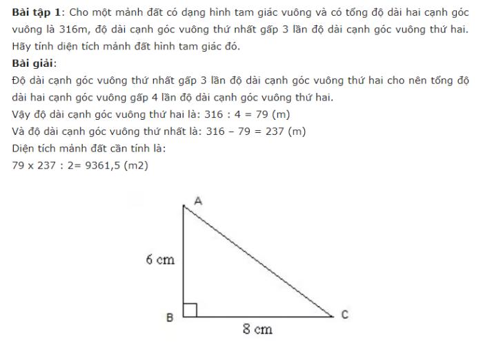 ví dụ cách tính diện tích hình tam giác